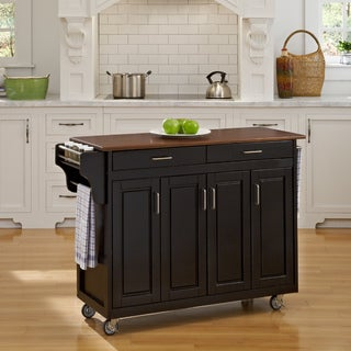 Black Finish with Cherry Top Solid Wood Create-a-Cart