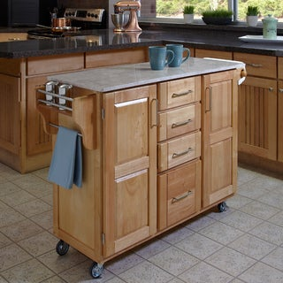 Natural Finish with Marble Top Create-a-Cart