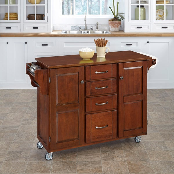 Home Styles Cherry Finish with Cherry Top Create-a-Cart