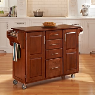Warm Oak Finish with Cherry Top Create-a-Cart