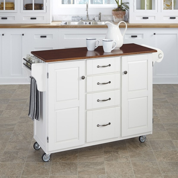 Home Styles White Finish with Cherry Top Create-a-Cart
