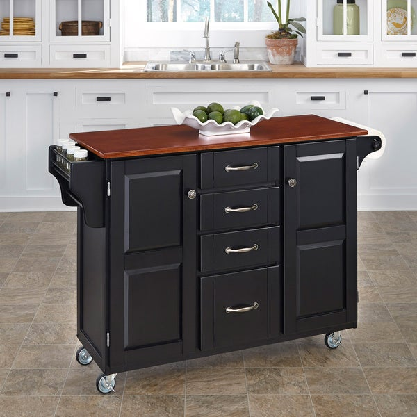 Home Styles Black Finish with Cherry Top Create-a-Cart