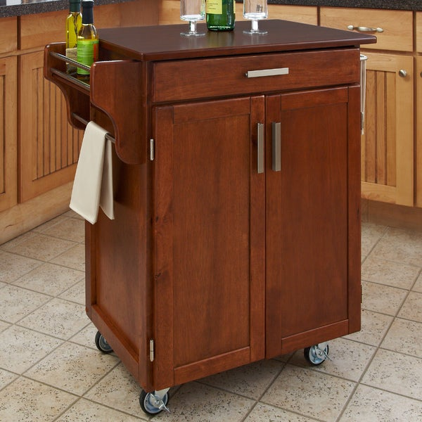 Oak Finish Cherry Top Cuisine Cart