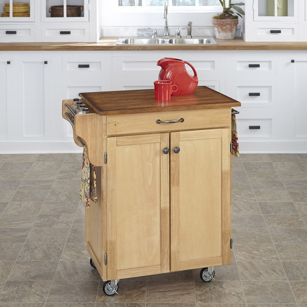 Home Styles Natural Finish Oak Top Cuisine Cart