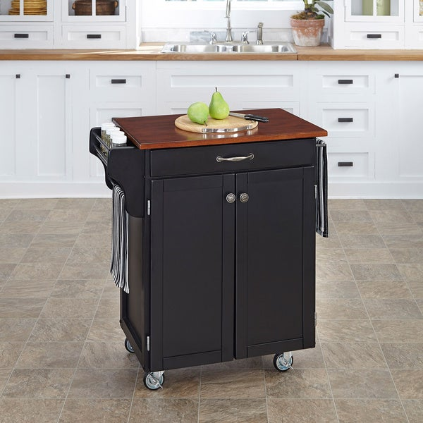 Home Styles Black Finish Cherry Top Cuisine Cart
