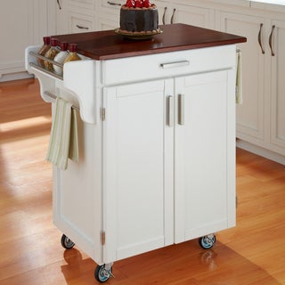 White Finish Cherry Top Cuisine Cart