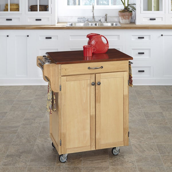 Home Styles Natural Finish Cherry Top Cuisine Cart
