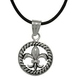 CGC Stainless Steel Fleur De Lis Circle Leather Necklace