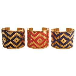 Handcrafted Goldtone Metal with Ikat Design Cuff Bracelet (India)