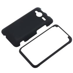 Black Rubber Coated Case/ Screen Protector for HTC EVO Shift 4G
