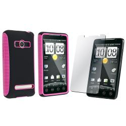 Hot Pink/ Black Hybrid Case/ Screen Protector for HTC EVO 4G