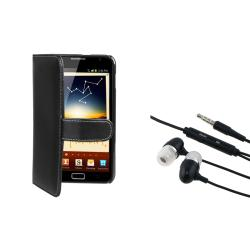 Black Leather Wallet Case/ Headset for Samsung� Galaxy Note N7000
