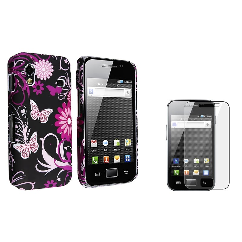 INSTEN Black Rubber Phone Case Cover/ Screen Protector for Samsung Galaxy Ace S5830