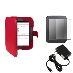 Red Case/ Screen Protector/ Charger for Barnes & Noble Nook 2