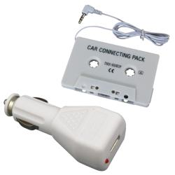 Car Cassette Adapter/ Charger Adapter for Apple iPod/ iPhone