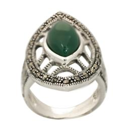 De Buman Sterling Silver Green Agate and Marcasite Ring