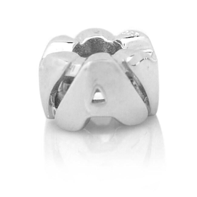De Buman Sterling Silver Alphabet Letter Charm Beads