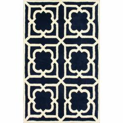nuLOOM Handmade Moroccan Trellis Navy Wool Rug (7'6 x 9'6)