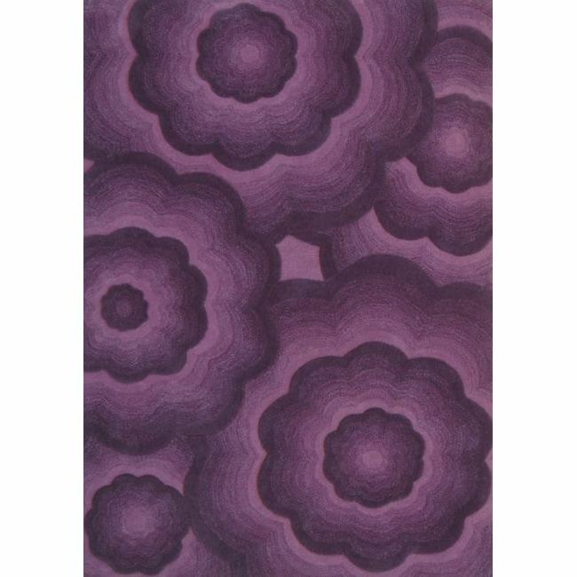 nuLOOM Handmade Moda Floral Plum Wool Rug (7'6 x 9'6)