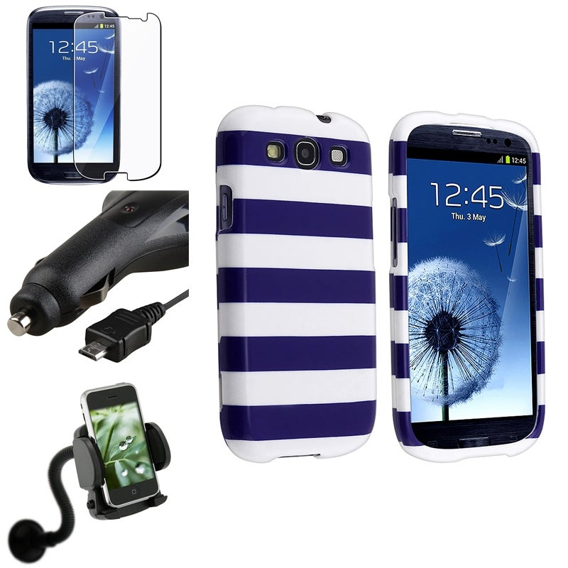 INSTEN Stripe Case Cover/ Protector/ Mount/ Charger for Samsung Galaxy S III/ S3
