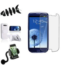 White Hybrid Case/ Protector/ Car Mount for Samsung Galaxy S III/ S3