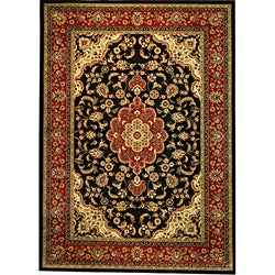 Medallion Traditional Black Rug (9'3 x 12'6)