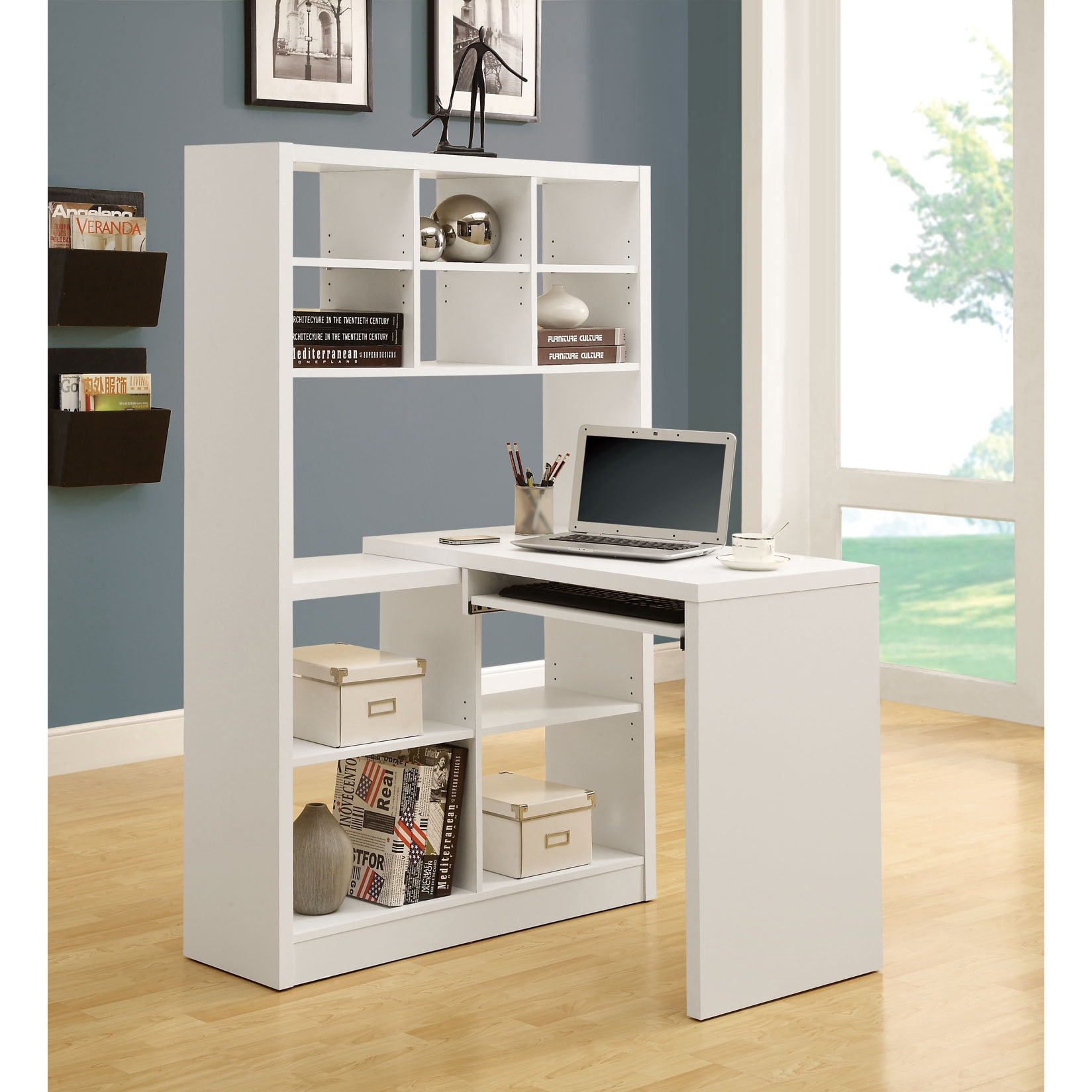 White Hollow-core Corner Desk - 14528072 - Overstock.com Shopping