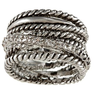 City Style Silvertone Clear Cubic Zirconia Antique Multi-band Ring (Size 6)