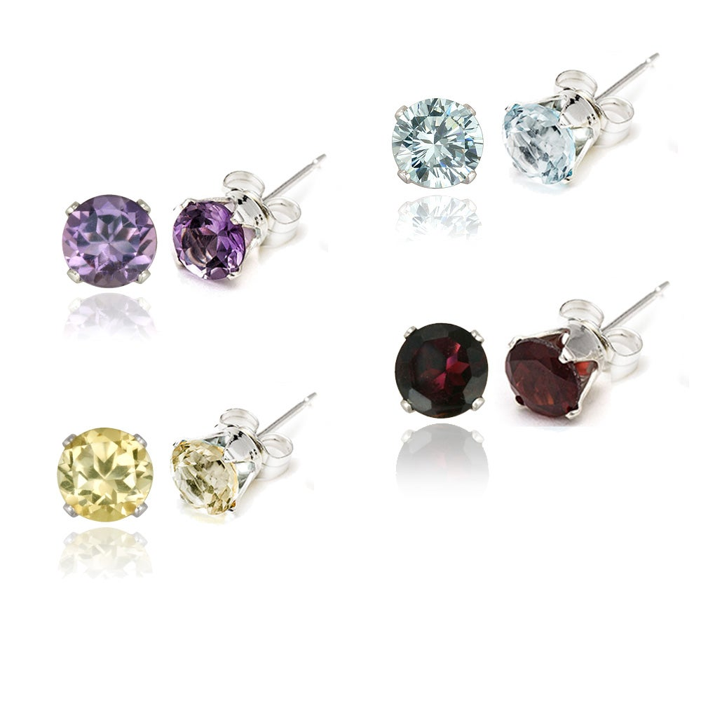 Glitzy Rocks Silver 7 1/3ct TGW Gemstone 4-piece Stud Earring Set