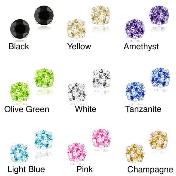 Icz Stonez Sterling Silver 2 7/8ct TGW Cubic Zirconia Stud Earrings
