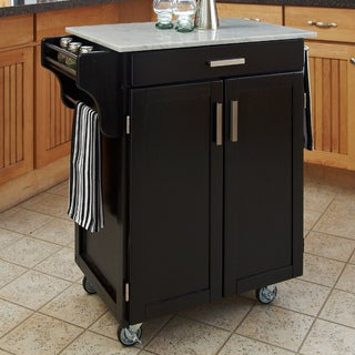 Black Finish Marble Top Cuisine Cart