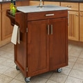 Oak Finish Marble Top Cuisine Cart