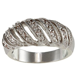High-polish Silvertone Brass and Clear Crystal Openwork Striped Ring