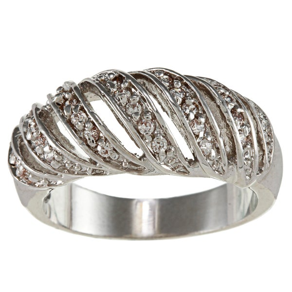 City by City High-polish Silvertone Brass and Clear Crystal Openwork Striped Ring