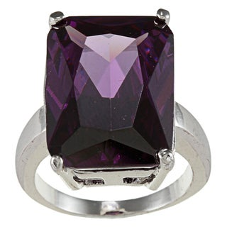 City Style Silvertone Emerald-cut Amethyst Solitaire Ring