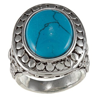 City Style Silvertone Stabilized Turquoise Antique Bali Ring