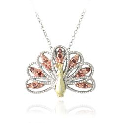 DB Designs Tri-color Gold over Silver 1/10ct TDW Red Diamond Peacock Necklace