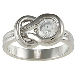 City Style Silver Tone Clear Knot Ring Cubic Zirconia