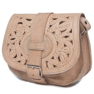 Small Hand-crafted Honey-brown Cut Leather Saddle Bag (Morocco)