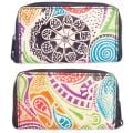 Handcrafted Stamped Multicolored Leather/Nylon Zip-Around Wallet (India)