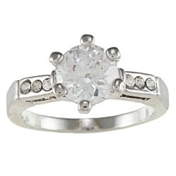 City Style Silvertone Clear Cubic Zirconia Solitaire Engagement-style Ring