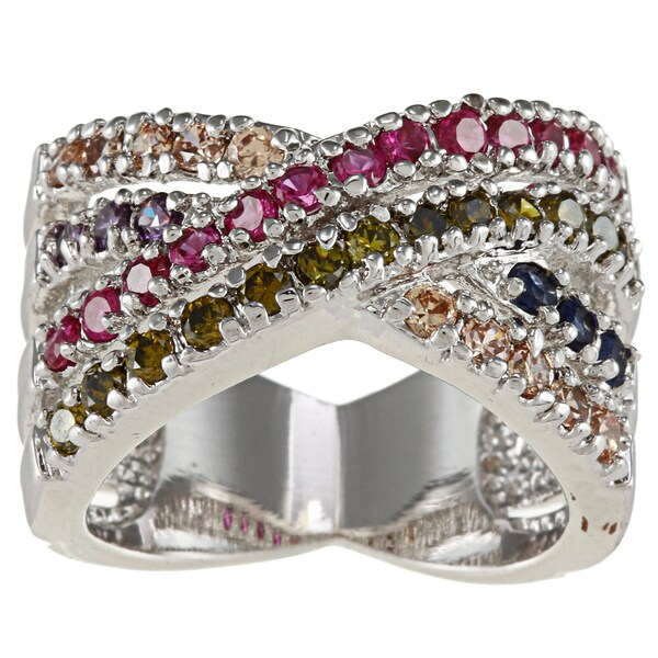 City by City City Style Silver Multiple Colors Cubic Zirconium Wrap Band