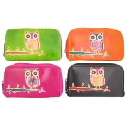 Handcrafted Stamped Owl Leather Zip-around Wallet (India)