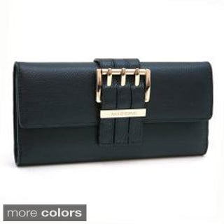 Anais Gvani Textured Genuine Italian Leather Checkbook Wallet with Buckle Accent