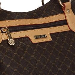 Rioni 'The Jenny Bag' Signature Brown Canvas and Leather Trim Handbag