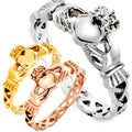 Lightweight High-polish Stainless Steel Celtic Eternity Claddagh Ring