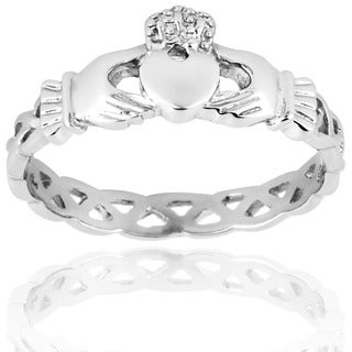 ELYA Gold-plated Stainless Steel Claddagh Ring with Celtic Knot Eternity Design (3mm)