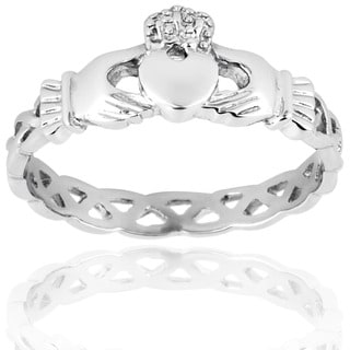 Elya Designs Goldplated Stainless Steel Claddagh Ring with Celtic Knot Eternity Design (3mm)