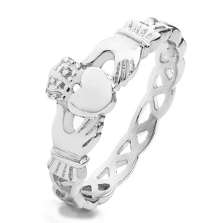 Elya Designs Lightweight High-polish Stainless Steel Celtic Eternity Claddagh Ring
