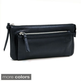 Anais Gvani Smooth Genuine Italian Leather Zipper Pouch Wallet